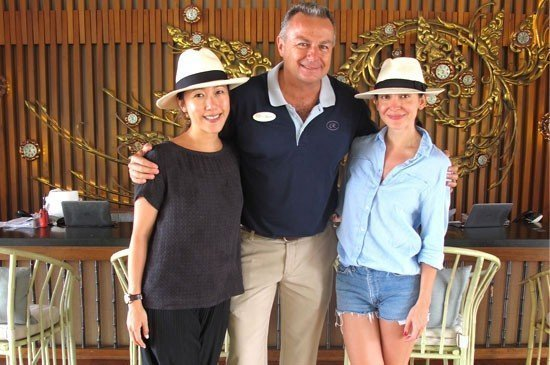 Brice Borin, General Manager, Regent Phuket Cape Panwa  (center) and Ase Wang (right) and her friend (left) pose at the lobby of the resort.