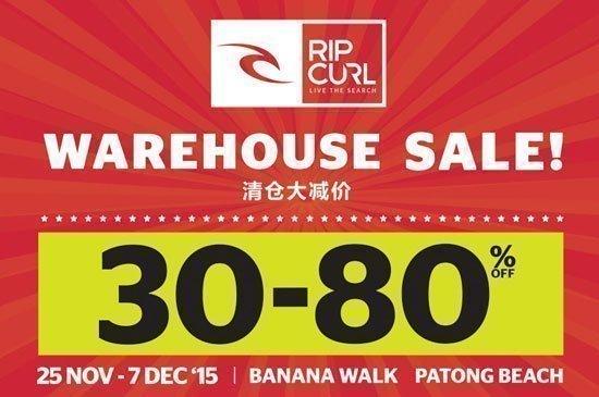 Ripcurl - discount 30-80% at Banana Walk Patong Beach
