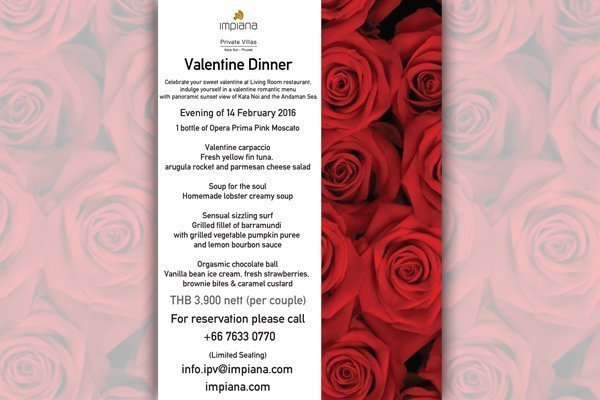 Valentine Dinner at Impiana Private Villas Phuket