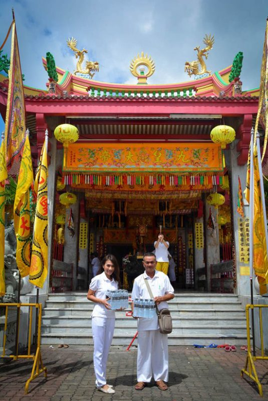 Donated drinking water to Chinese Shrines in Phuket
