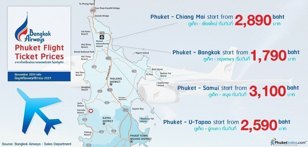 Phuket Stat: Bangkok Airways Phuket Flight Ticket Prices