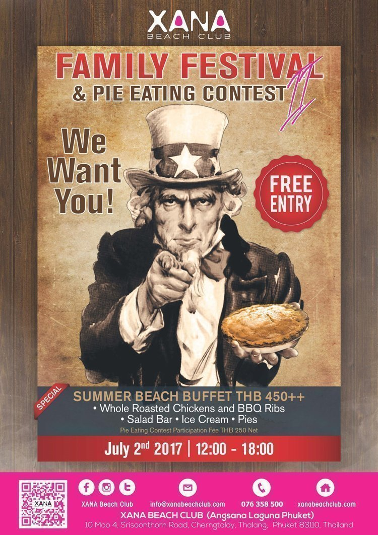 Family Festival and Pie Eating Contest at XANA Beach Club on 2nd July with Independence Day theme