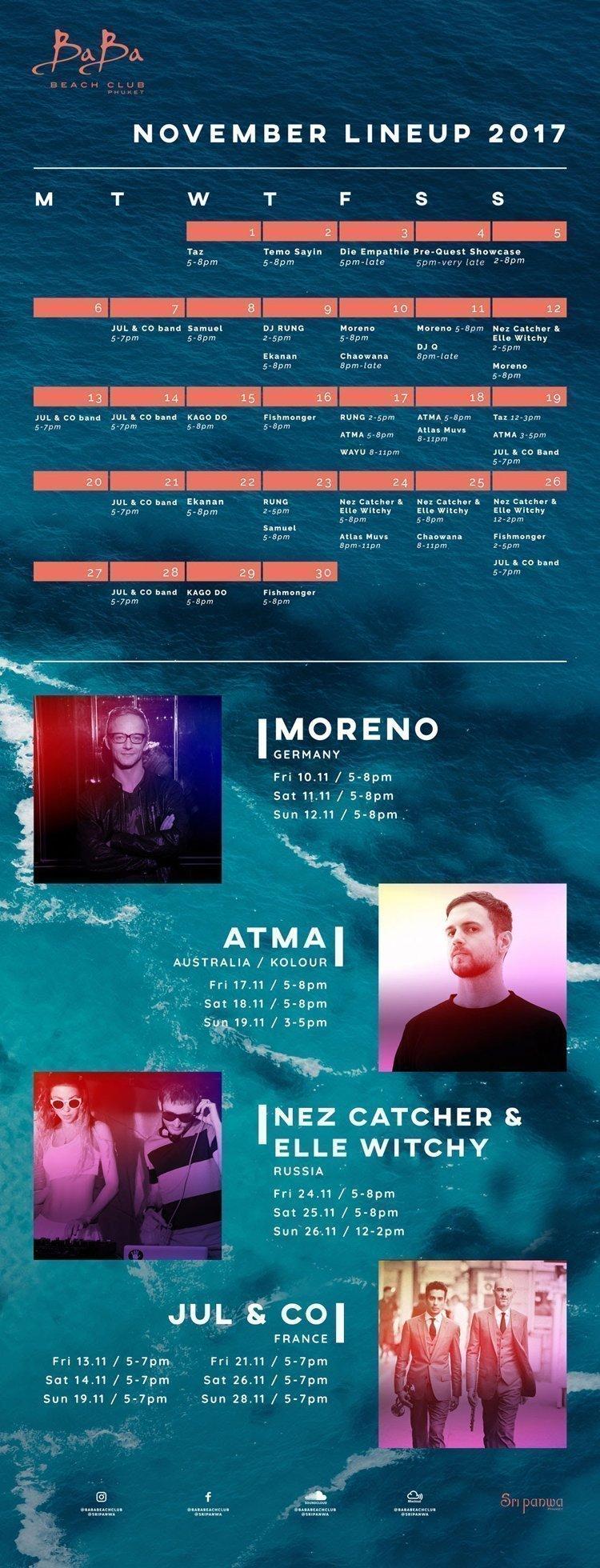 Baba Beach Club Phuket presents DJ's & Entertainment lineup in November