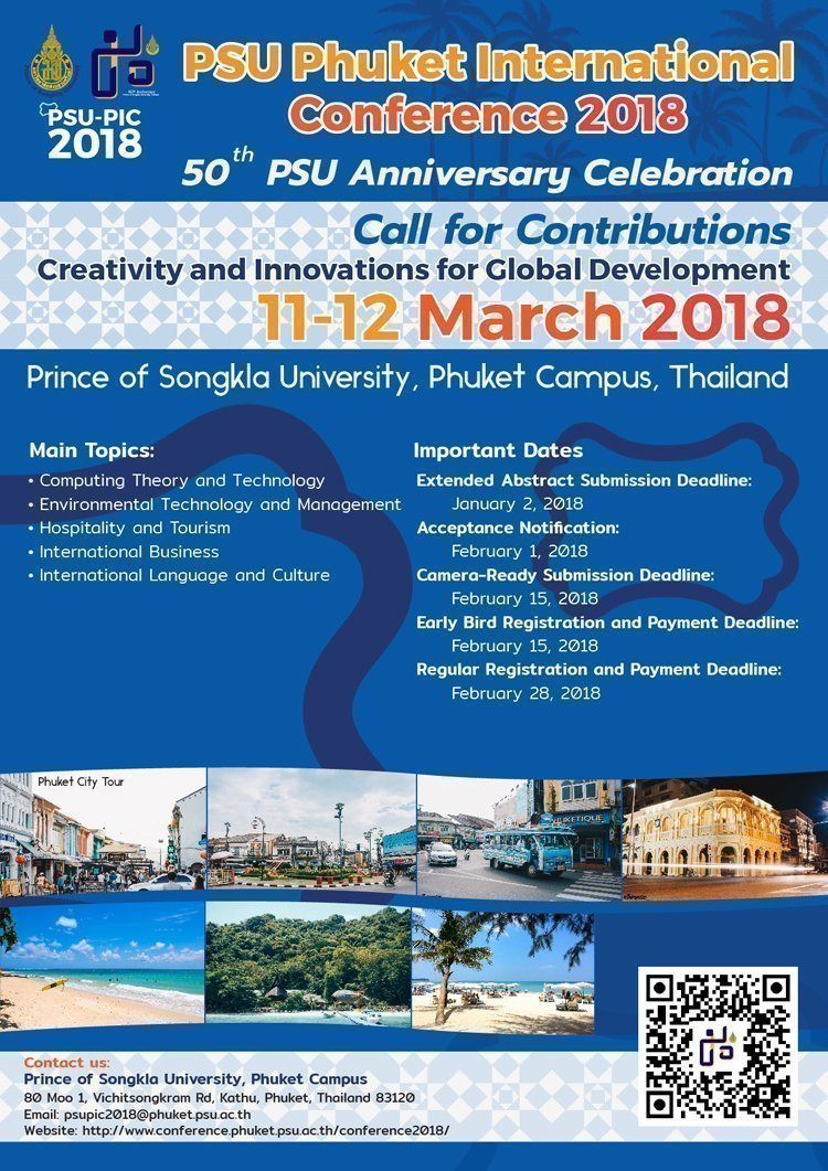 PSU Phuket International Conference 2018: Creativity and Innovations for Global Development