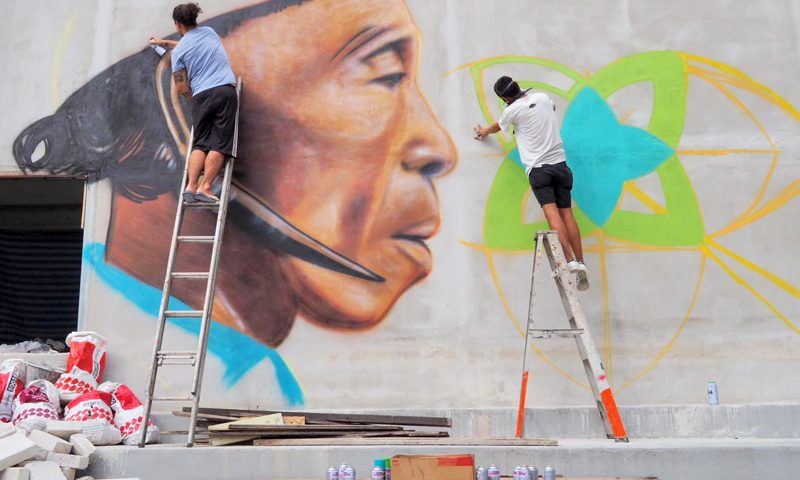 Street art gallery on the vestige of Ban Roeng Chit Memory