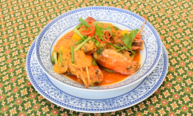 "Monthly Special Menu: ""Fried Indian Yellow Curry Sauce with Prawns"", Deevana Patong Resort & Spa"