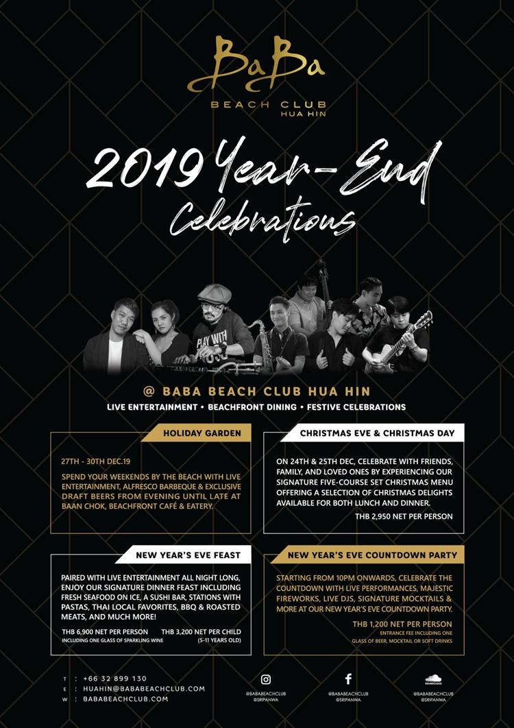 2019 YEAR-END CELEBRATIONS, Baba Beach Club Hua Hin