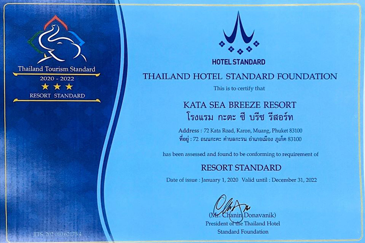 Kata Sea Breeze Resort: 3 STARS resort standard & certification of drug-free workplace