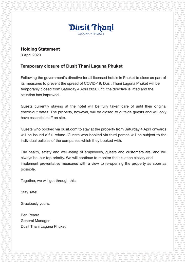 Temporary closure of Dusit Thani Laguna Phuket
