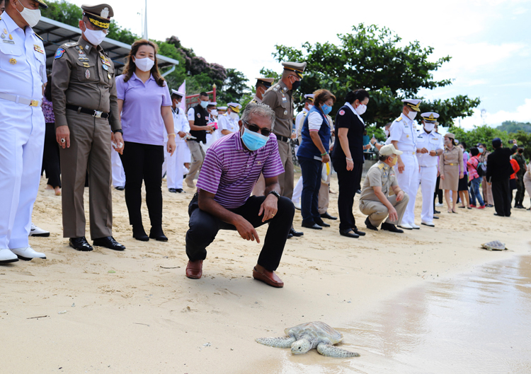 JW Marriott Phuket Resort & Spa together with Mai Khao Marine Turtle Foundation Joined the Royal Thai Navy Third Area Command's Sea Turtles Release Ceremony In honour of Her Majesty Queen Suthida Bajrasudhabimalalakshana's Birthday