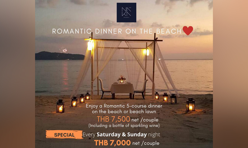 Romantic dinner on the beach, The Naka Phuket