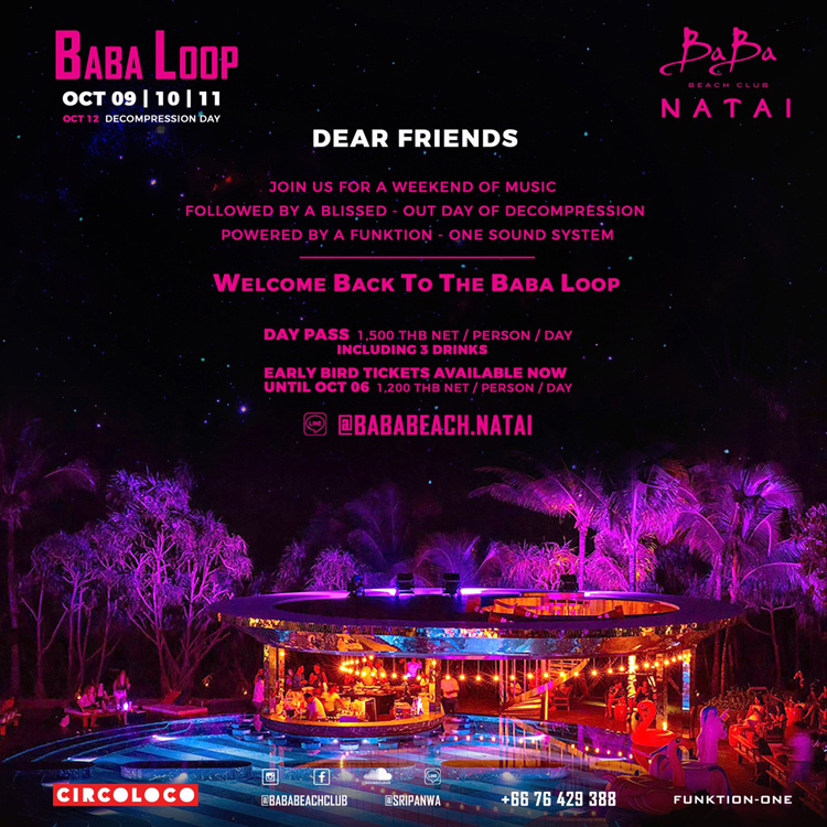 Baba Beach Club Natai: Baba Loop Party (9-11 October)