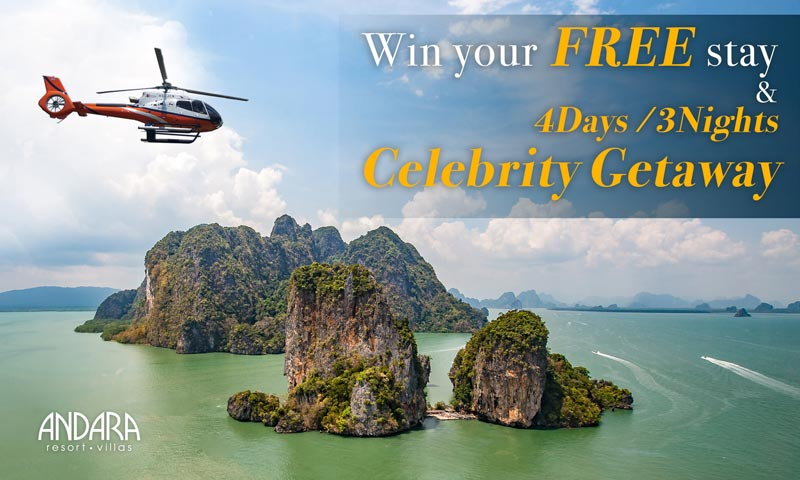 Win your free stay and 4 days/3nights celebrity getaway by Andara