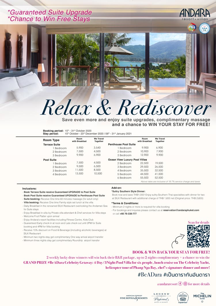 Aandara launches 'relax & rediscover' thai resident offer and win BACK your stay lucky draw