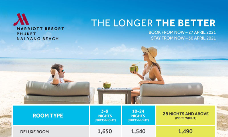 Exclusive extended-stay package at Phuket Marriott Resort and Spa, Nai Yang Beach