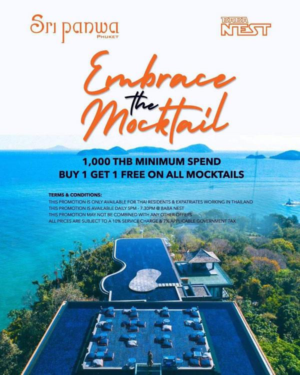 Buy 1 Get 1 Free on All Mocktails @ Baba Nest, Sri panwa
