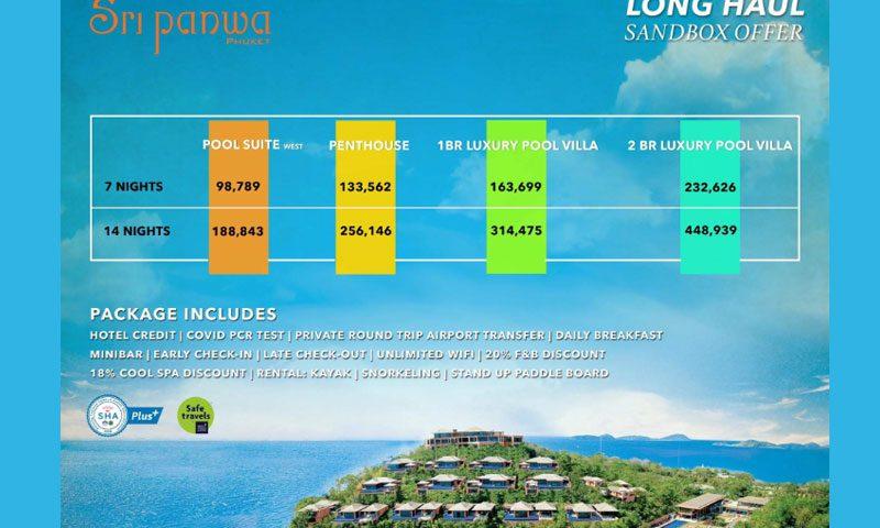 Phuket Sandbox, THB 105,346 for 7 & THB 195,491 for 14 – Sri panwa Phuket